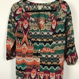 Lucky Brand Womens Button Front 3/4 Blouse Multi C